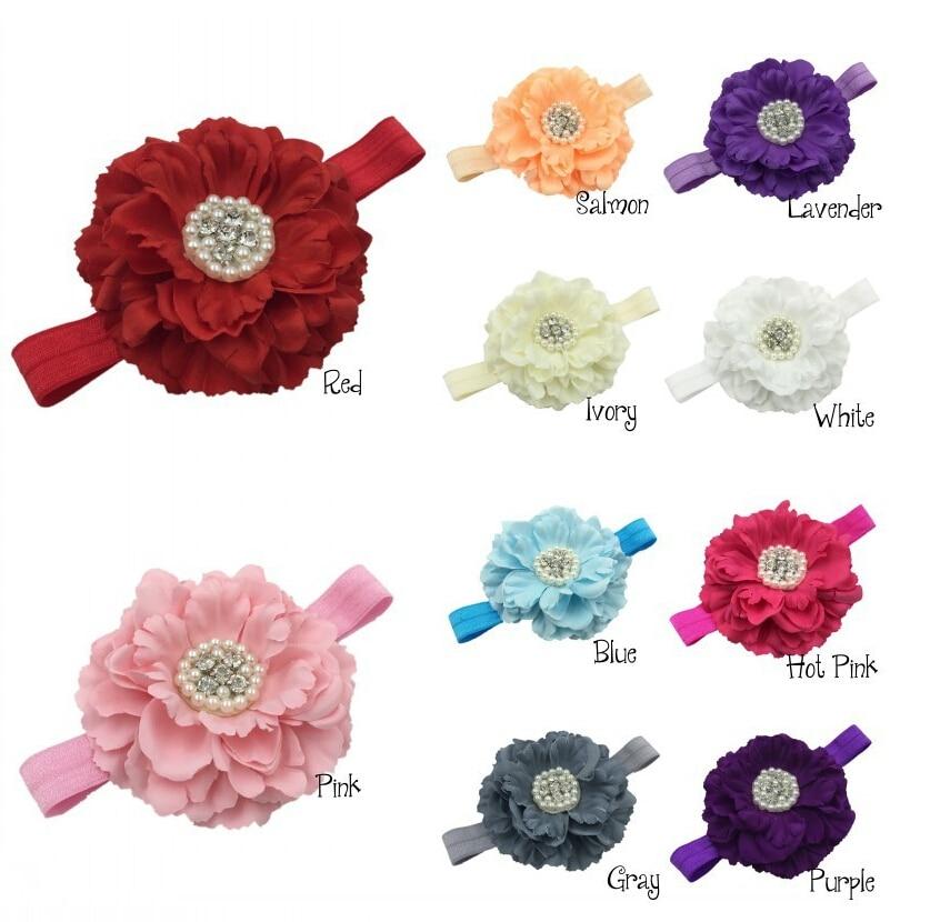 Φ_ΦNiñas Peony flor diadema gran flor diadema 10 color 30 unids/lote ...