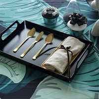 Nordic Metal Storage Tray with Handle Modern Minimalist Chic Ins Fruit Cake Dessert Plate Jewelry Display Tray Home Desk Decor