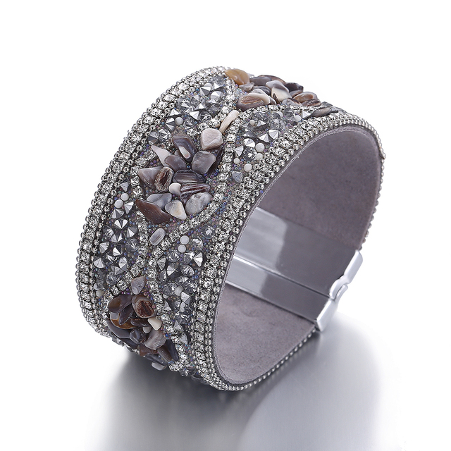 Vintage Stone Embellished Leather Bracelet