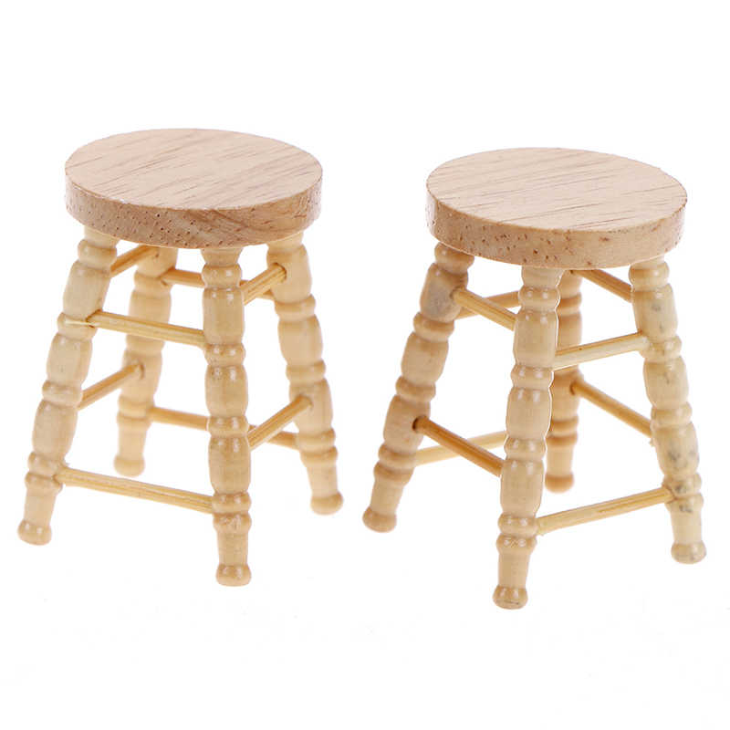 Simulation Mini Wooden Stool Chair Furniture Model Toys for Doll House Decoration 1/12 Dollhouse Miniature Accessories
