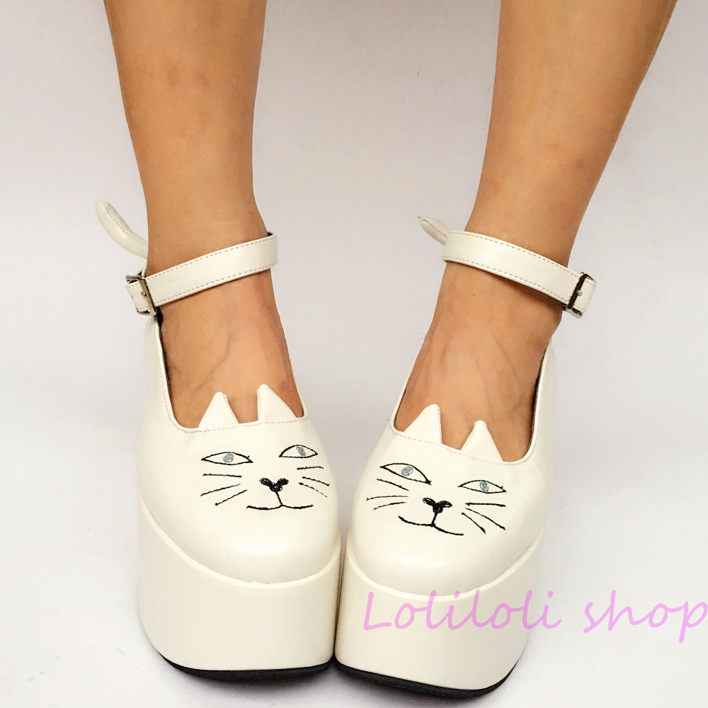 Princess sweet lolita shoes Lolita Japanese design customized special shaped white matte cat buckle platform shoes 1246 princess sweet lolita shoes japanese design customized special shaped red shinning bow tie high heel stiletto shoes 5009a