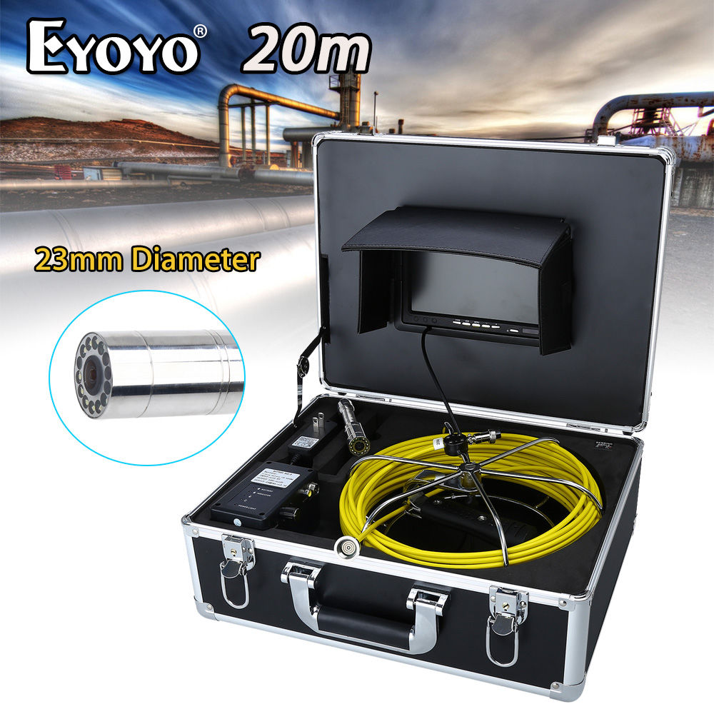 Eyoyo WP70A 7 LCD 23mm 20M Wall Drain Sewer Line Inspection Camera System Snake Endoscope HD TFT CMOS 1000TVL Color Sun shield eyoyo 20m 9 lcd 23mm wall drain sewer pipe line inspection camera system snake endoscope cmos 1000tvl hd color tft sun shield