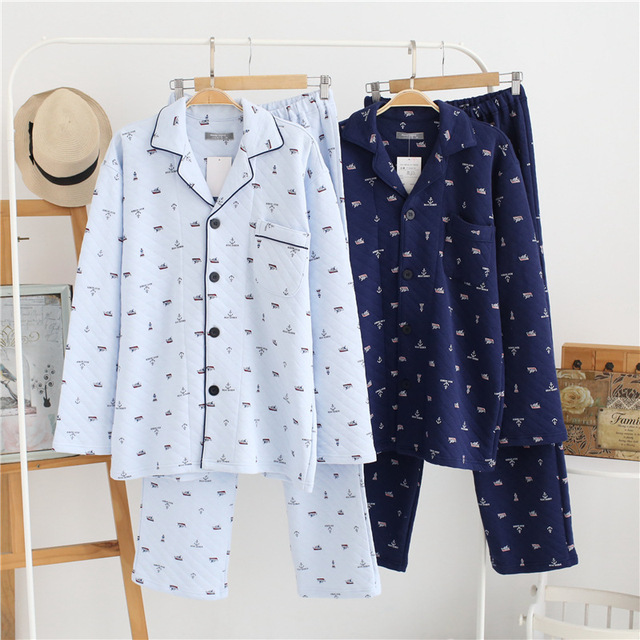 Winter thicken 100% cotton pajama sets men sleepwear keep warm male fashion Delicate edge sleep indoor pijamas for male 2018