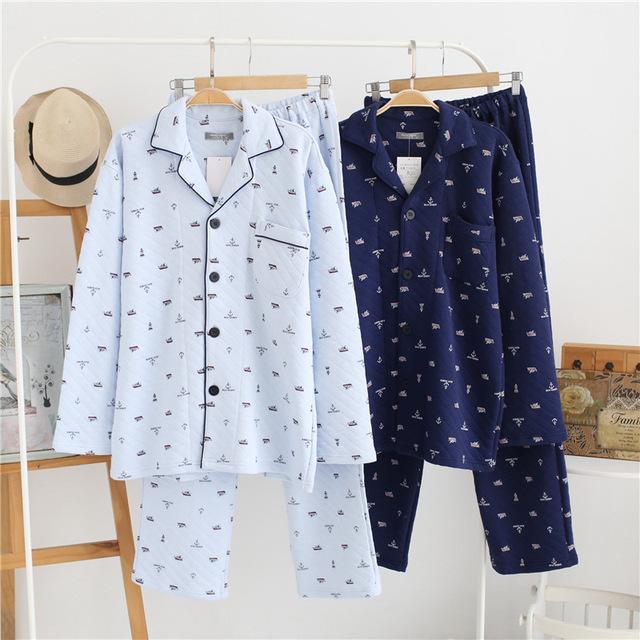 Winter thicken 100% cotton pajama sets men sleepwear keep warm male fashion Delicate edge sleep indoor pijamas for male 2018