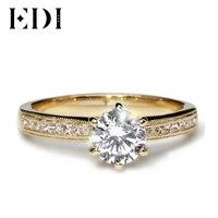 EDI Роскошные 14 к желтый 1ct круглый вырез искусственный бриллиант обручальное кольцо качественные муассаниты дамское кольцо ювелирные украш