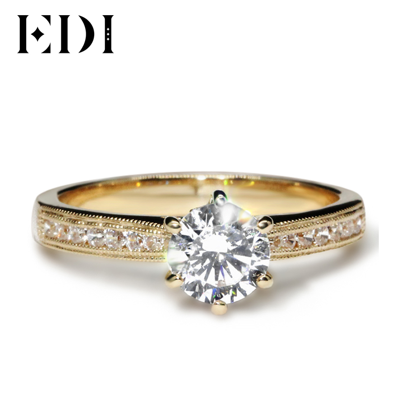 EDI De Luxe 14 k Jaune 1ct Round Cut Lab Grown Bague De Fiançailles De Mariage Test Positif Moissanites Dames Anneau Amende bijoux