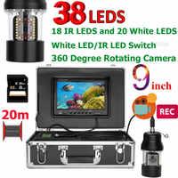 Cámara de vídeo de pesca submarina 9 pulgadas DVR grabadora 20m buscador de peces IP68 impermeable 38 LEDs 360 grados Cámara giratoria