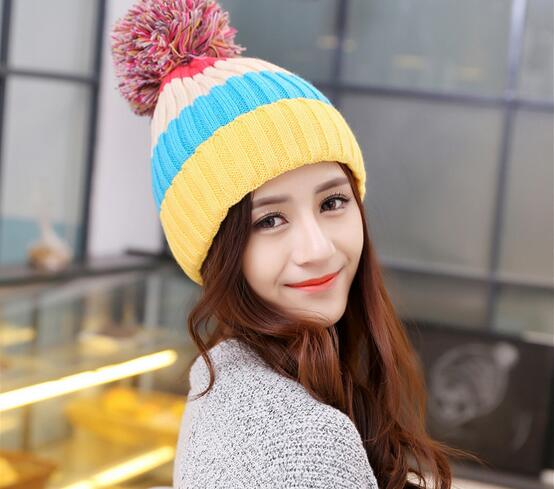 2016 Casual Striped Caps With Pompom Adult New Fashion Gorro Winter Knitted Hat Bonnet Warm Hats For Women Thicken Beanies 2016 new beautiful colorful ball warm winter beanies women caps casual sweet knitted hats for women outdoor travel free shipping