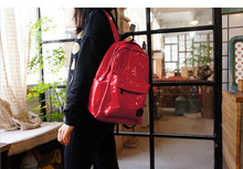 ulzzang style mirror pu leather material red and deep blue color boys and girls travel bag shinning backpack