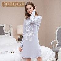 Qianxiu Female Long Nightgown Cotton Autumn Women Home Clothing Sleep Lounge Sleepwear Lady Nightshirt Girl Fashion Leisure