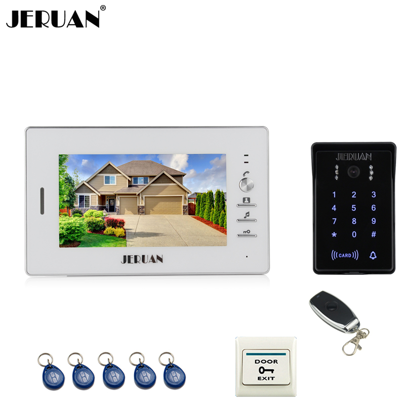 JERUAN Home wired 7`` LCD video door phone intercom system 700TVL RFID waterproof touch key password keypad camera FREE SHIPPING jeruan 8 inch tft video door phone record intercom system new rfid waterproof touch key password keypad camera 8g sd card e lock