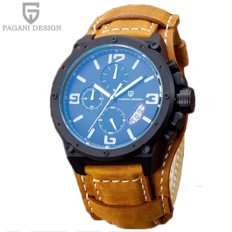 Pagani Design Watches Men Military Leather Quartz Watch Luxury Brand Waterproof Multifunction Sports Wistwatch relogio masculino luxury brand pagani design waterproof quartz watch army military leather watch clock sports men s watches relogios masculino