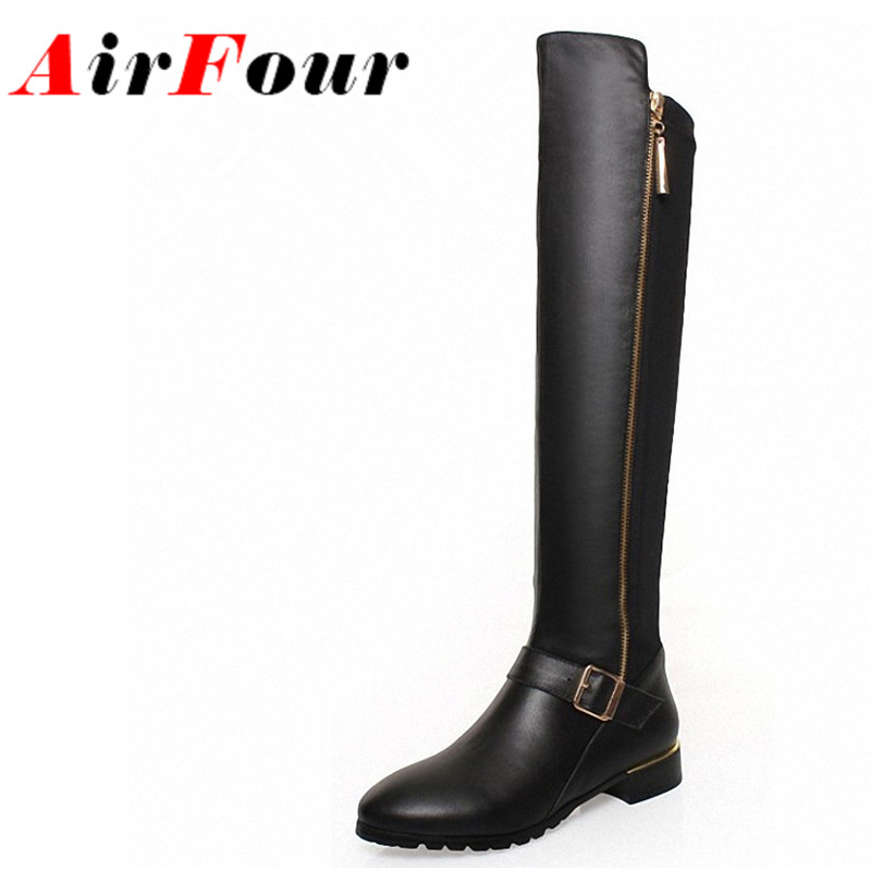 ФОТО Airfour New Sexy Flats Knight Boots Women Fashion Zipper Knee High Boots Autumn Winter Shoes Long Motorcycle Boots for women