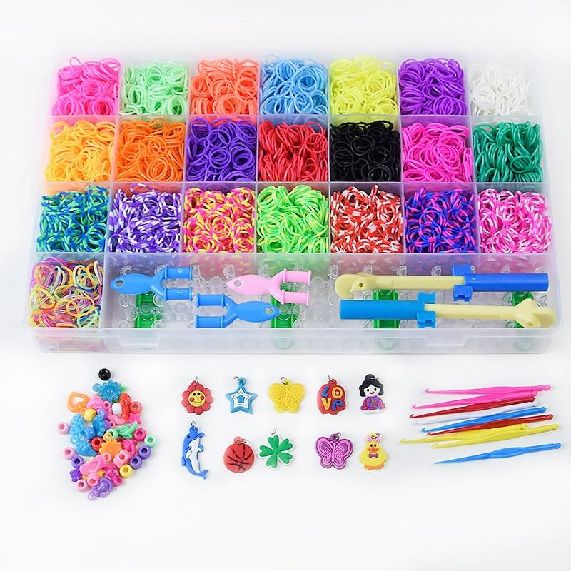 Loom Bands Box Kid DIY Set Bracelet Silicone Rubber Bands Elastic Colorful Weave Loom Bands Toy Children Goods