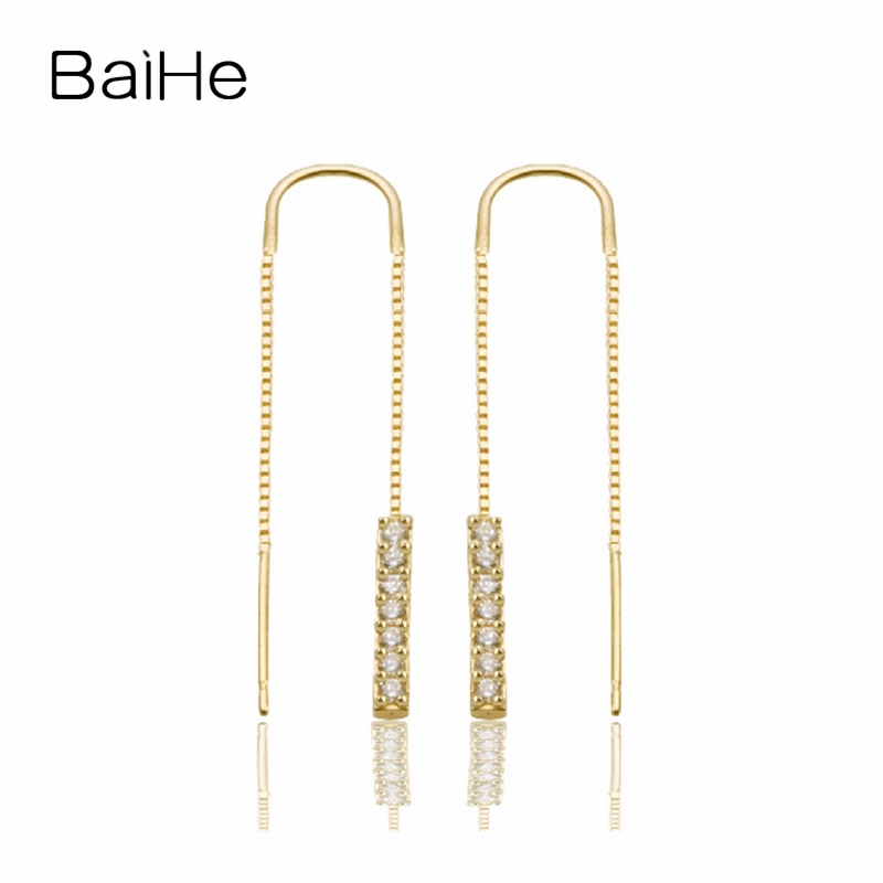 BAIHE Solid 18K Yellow Gold 0.10CT H/SI Round 100% Genuine Natural Diamonds Wedding Trendy Jewelry Elegant Unique Stud Earrings solid 18k rose gold unique stud earrings for women si h 100% natural diamonds earrings unique trendy party fine jewelry