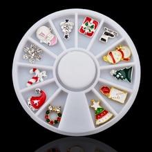 Pandahall 3d Alloy Christmas Design Nail Art Decoration Wheel Glitter Rhinestone Manicure Supplies Tools