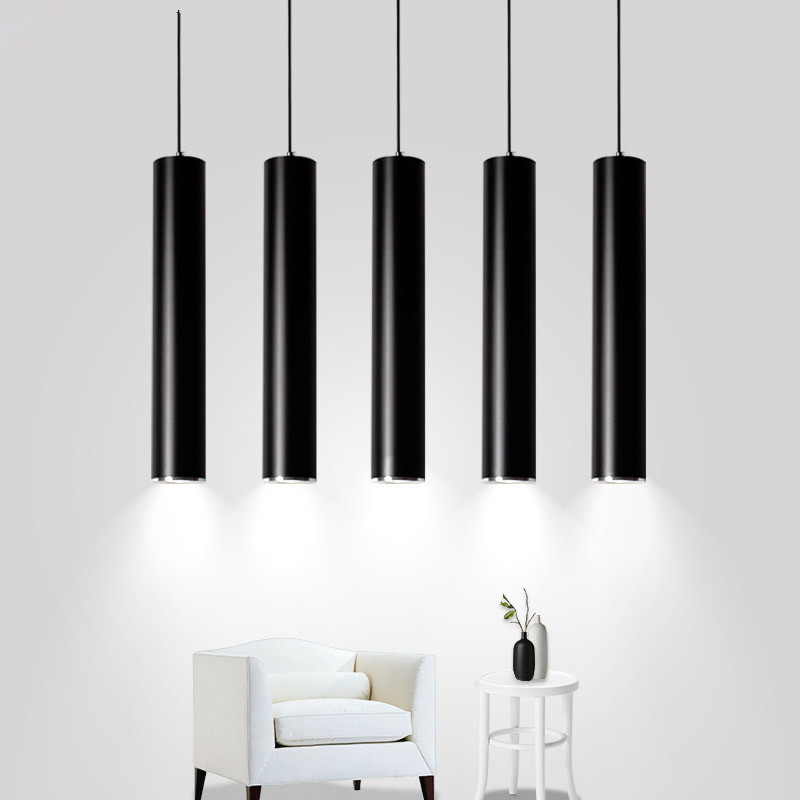 LED Modern Pendant Lights Long Tube Black Pendant Lamp Island Bar Counte Shop Room Kitchen Light Fixtures Hanglamp Luminaire