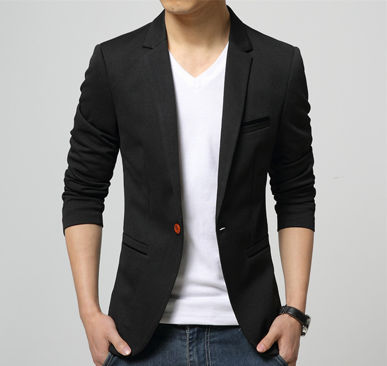 Mens Korean slim fit fashion cotton blazer Suit Jacket black blue ...