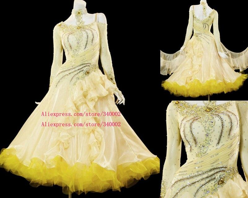 Ballroom Competition Dance Dress Women High Quality Elegant Yellow Dancing Skirt Adult Standard Waltz Ballroom Dance Dresses