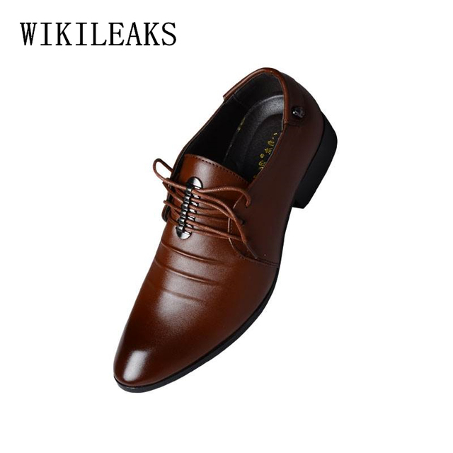 2018 men shoes italian leather pointed toe wedding dress shoes
