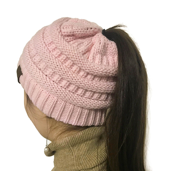fd156a9152a Winter Knitted Chunky Soft Slouchy Beanie High bun Ponytail Stretchy hat