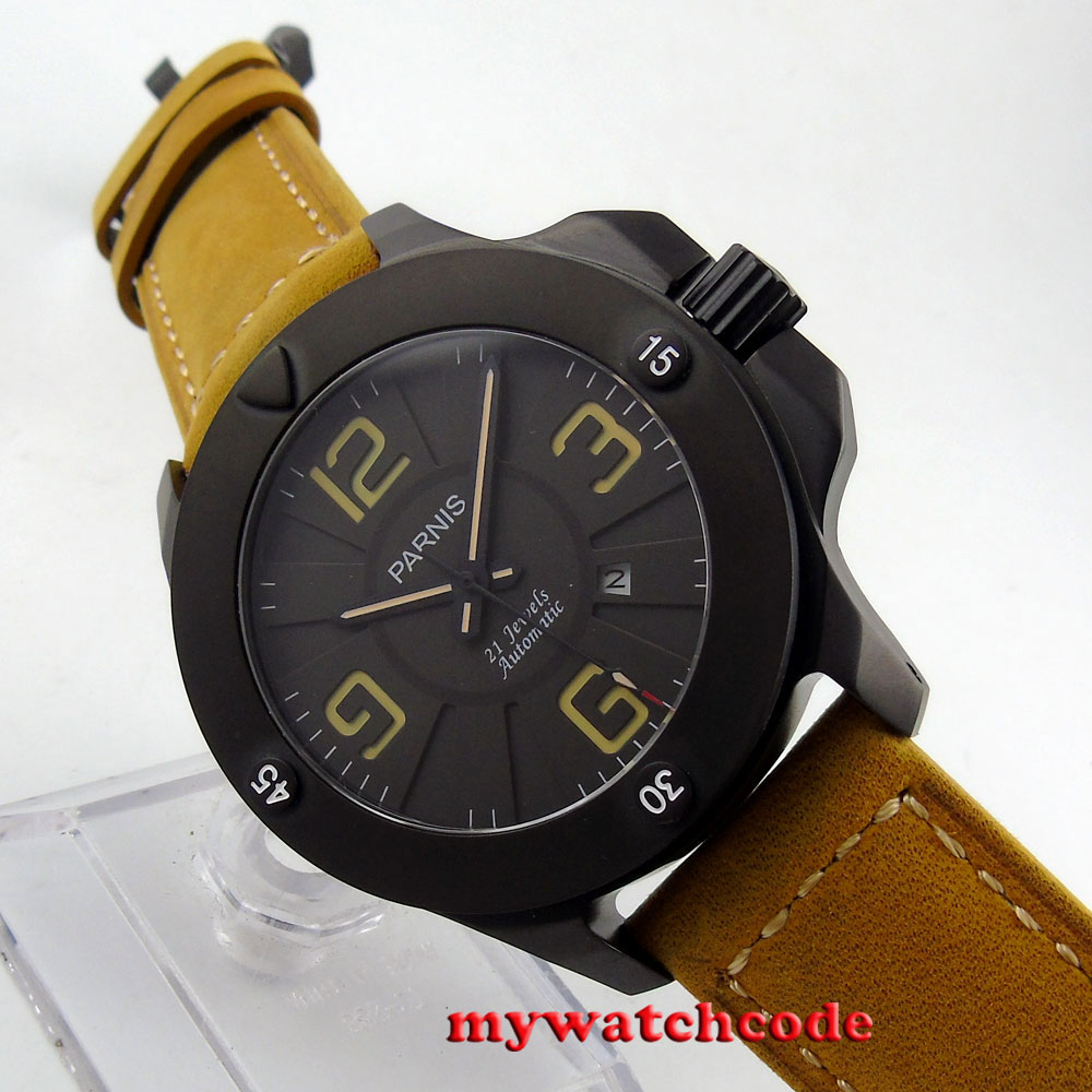 47mm Parnis black dial yellow marks PVD Sapphire Glass Automatic mens Watch 619