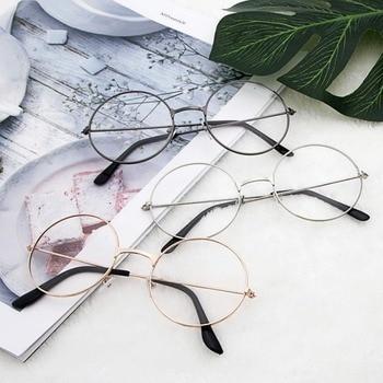 Retro circular espectáculo marcos para los hombres y las mujeres con lente plana gafas de sol