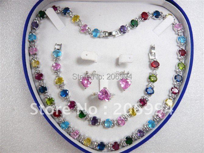 Модные украшения из циркония ожерелье браслет кольцо кулон серьги набор#58