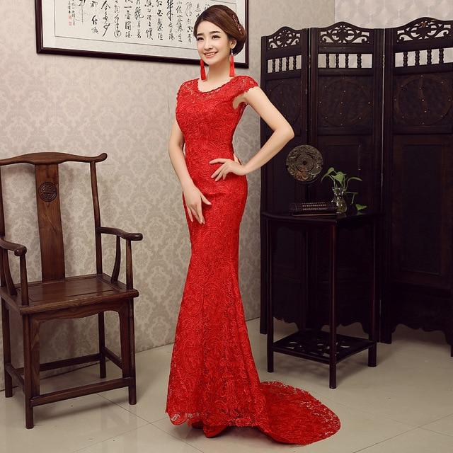 9baa91d28 Traditional Chinese Dress Red Qipao Mermaid Wedding Dress Modern Lace  Cheongsam Sexy Robe Chinoise Orientale Evening