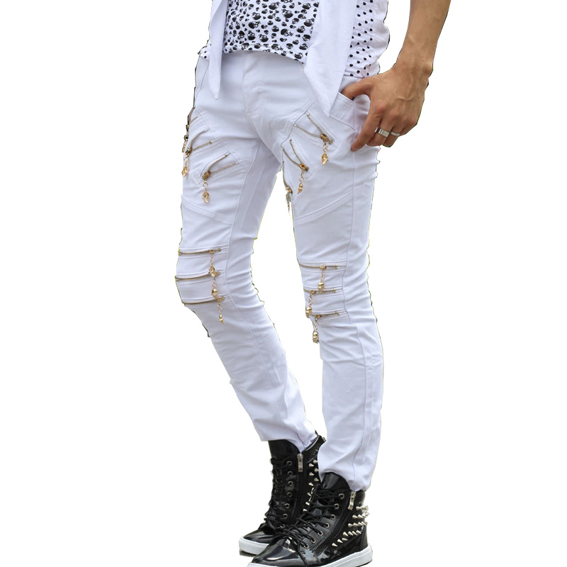 비 주류 거리 소년 캐주얼 지퍼 힙합 바지 남성용 패션 바지 오버올 남성 청바지 Pantalones 훔뜨린 바지