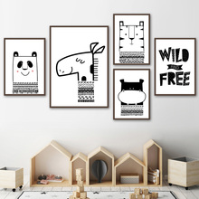 Panda Deer Tiger Hippo Cartoon Animal Nordic Posters And Prints Wall Art Canvas Painting Black White Pictures Kids Room Boy