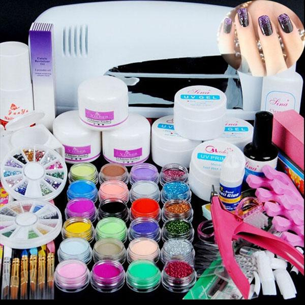 Hot Manicure Tools Combination Crystal Nails Kit Nail Phototherapy ...