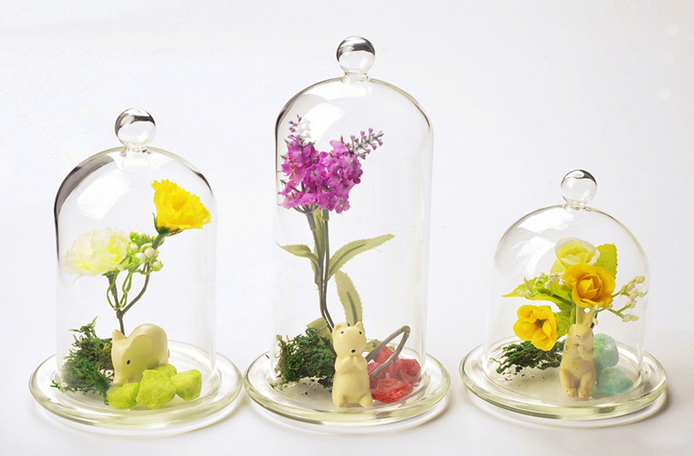 1pc Creative Decorative Beautiful Fashion Table Top Crystal Glass Cap Cover Flower Vase Home