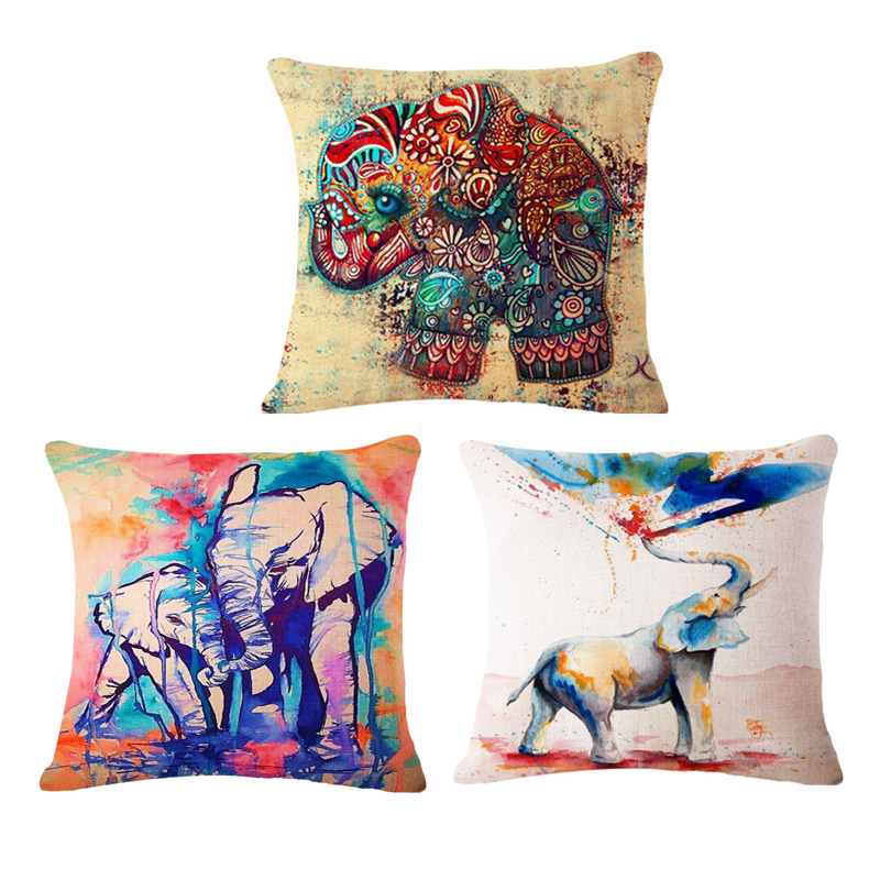 Paiting elephant Cushion Covers Sofa Throw Pillows Decorative Throw Pillow Covers Pillowcase ...