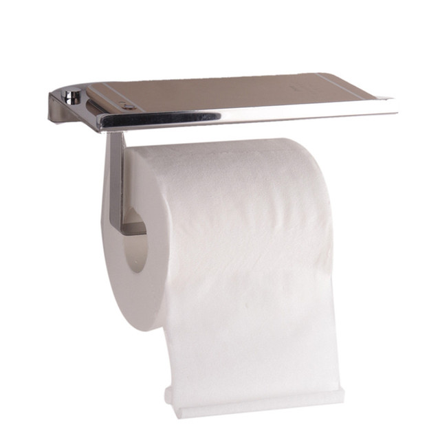 Stainless Steel Roll Towel Tissue Paper Holder  Mobile Phone hold Shelf Rack Toilet Tissue Boxes Kitchen Bathroom Accessories