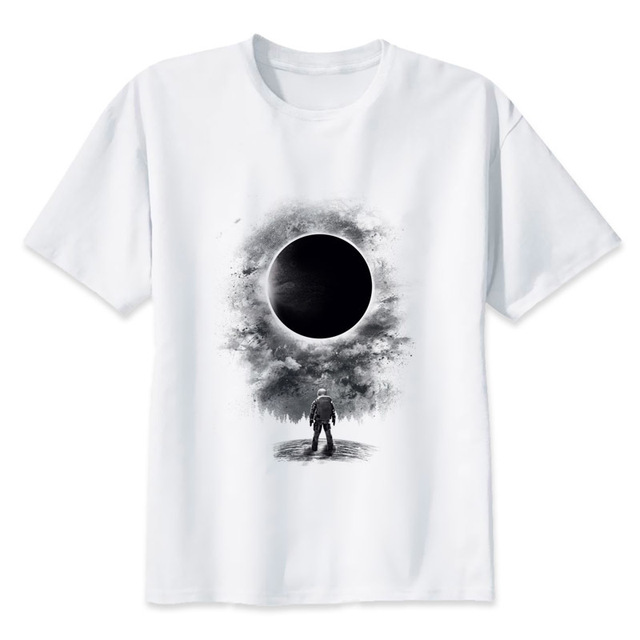 Solar Eclipse Print Lassige T Shirt Herren Oansatz T Shirts Mode Fur