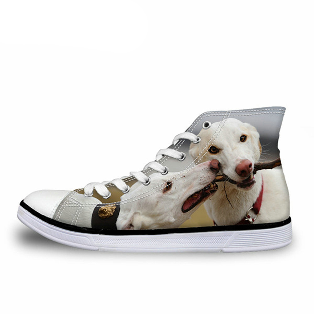 NOISYDESIGNS Fashion High Top men Vulcanize Cute 3D Animal Dog Greyhound Print men Leisure Canvas Shoes High-top Shoes man