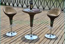 Outdoor brown rattan adjustable bar sets furniture