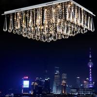 Simple modern LED rectangular warm living room hall K9 microphone crystal lamp 1 m 1.2 headlights ceiling lamp led fixture lamps