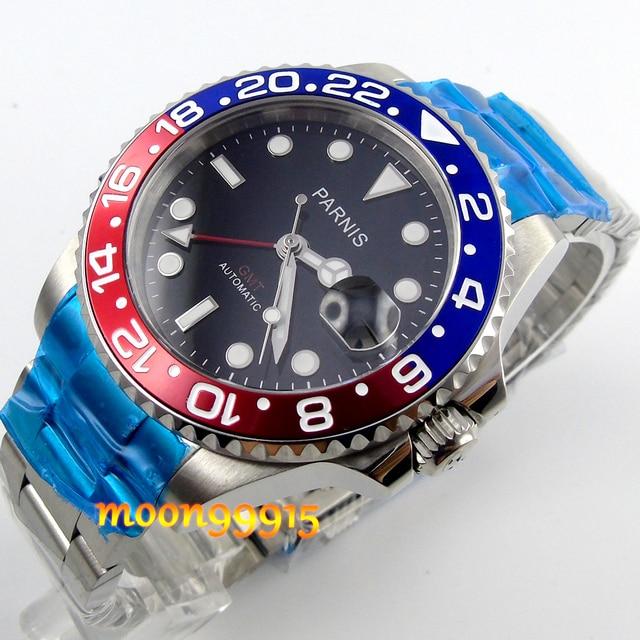 3399c48d0b1 40mm parnis azul red bezel GMT safira homens automáticos do relógio ...
