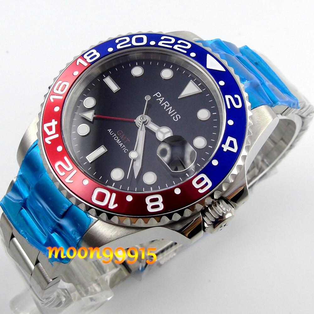 40mm parnis blu/rosso lunetta GMT zaffiro automatic mens watch