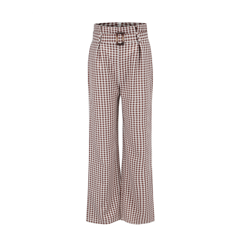683a7c7f56cd6 Detail Feedback Questions about women high waist pants autumn fashion wide  leg loose pants checkered trousers plus size street style pantalon femme  81653 on ...