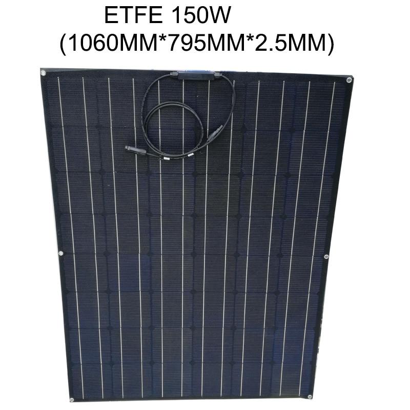 Free Shipping 150W ETFE Flexible solar panel 24V Monocrystalline solar cell 24V Solar Battery Home System