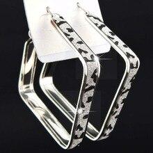 Очаровательные Горячие Продажи Модные Новые матовые серебряные большие Зебра квадратные серьги-кольца для женщин мужские B1057
