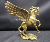 Chiński piękna delikatna Pegasus 100% handmade miedź statua NC w Posągi i rzeźby od Dom i ogród na