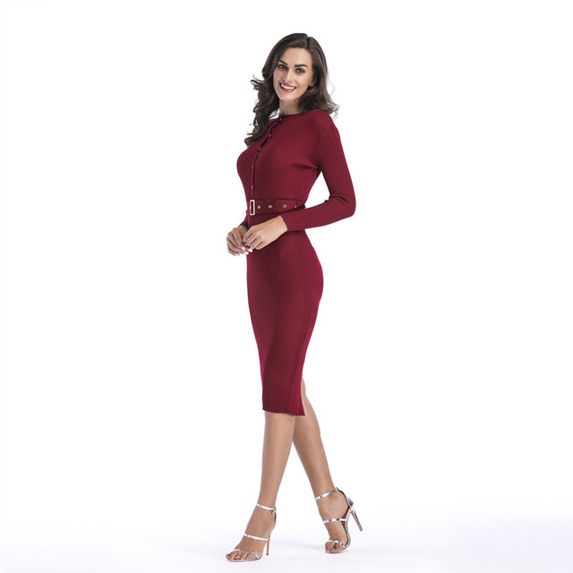 women bodycon bandage dress winter long sleeve knitted sweater dress ...
