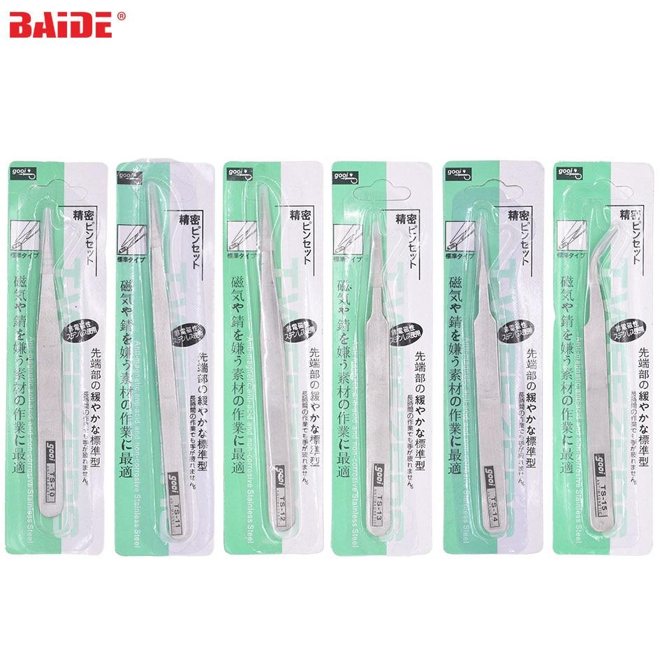 Green Package TS - 10 11 12 13 14 15 Silver Nipper 1.5mm 1.0mm Stainless Steel Tweezers Repair Tools 400pcs/lot