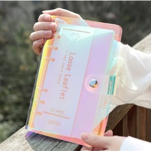 A5 A6 PVC Laser Transparent Notebook Diary Cover Loose Leaf Spiral Note Book Office Supplies