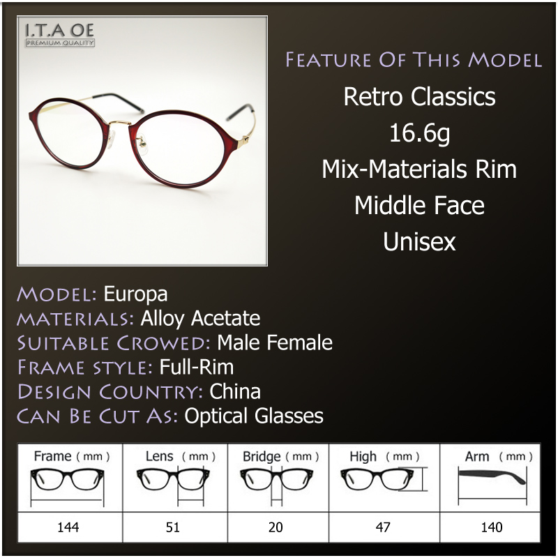 ITAOE Europa Full Rim Retro Classics Mix Alloy Middle Face Women ...