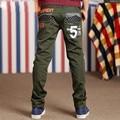 Menino calças novas primavera outono moda joker lazer calças meninos adolescentes cuhk criança verde calças de comprimento total